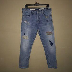Pilcro Patchwork Slim Boyfriend Jeans